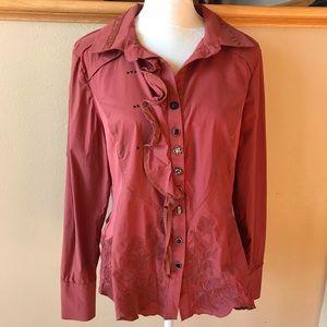 Artsy Jane & John embroidered rust blouse L
